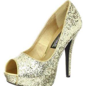 Funtasma PEEP Toe Twinkle-18G Gold Glitter Pump